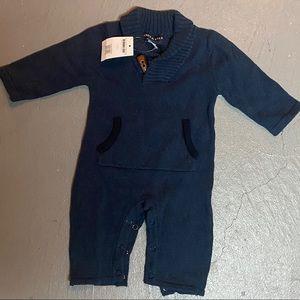 Baby Boy Grey Shawl Collar Playsuit